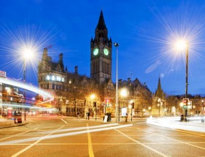 Albert Square at night